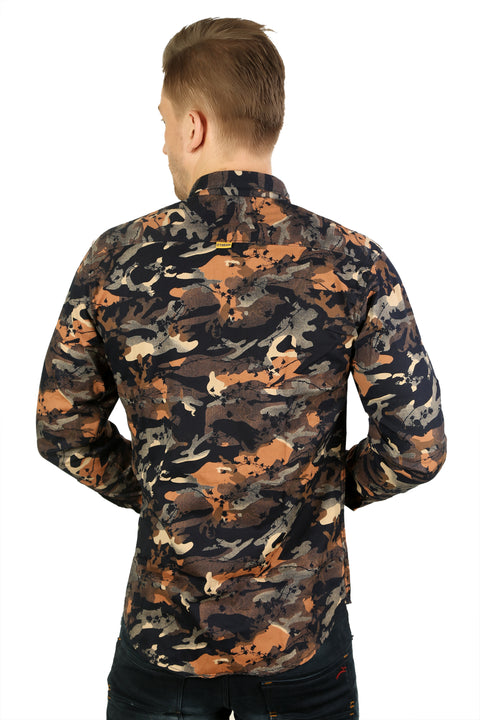 Styrrior 2175 - Slim Fit Orange Grass Camouflage Printed Cotton Shirt