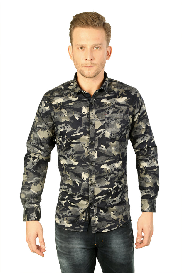 Styrrior 2176 - Slim Fit Grey Blue Grass Camouflage Printed Cotton Shirt