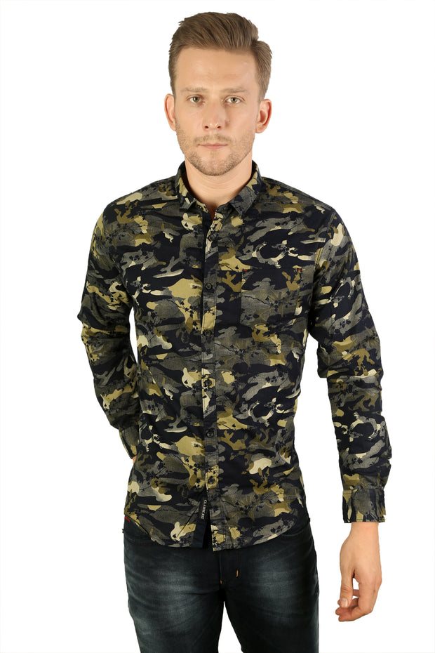 Styrrior 2177 - Slim Fit Army Green Blue Grass Camouflage Printed Cotton Shirt