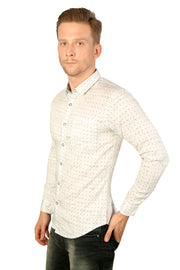 Styrrior 2179 - Slim Fit White Cotton Printed Shirt