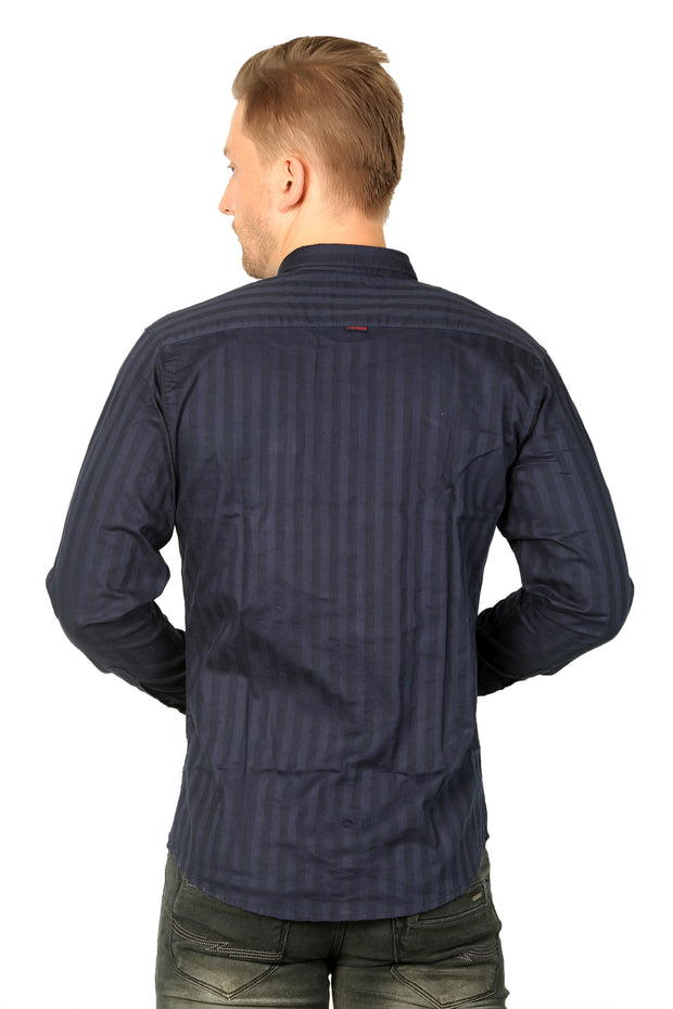 Styrrior 2181 - Slim Fit Self Stripe Navy Blue Cotton Shirt
