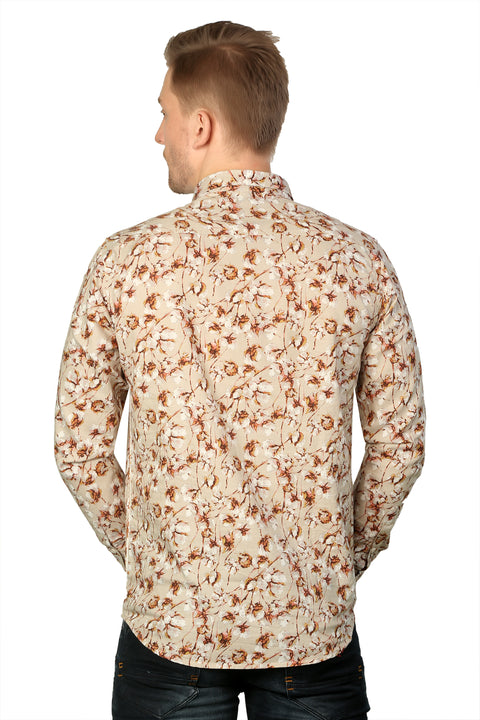 Styrrior 2182 - Slim Fit Linen Cotton Red Floral Printed Shirt