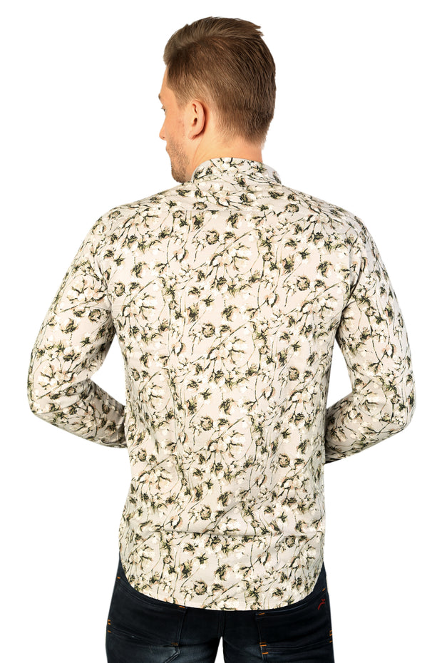 Styrrior 2183 - Slim Fit Linen Cotton Olive Green Floral Printed Shirt