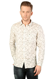 Styrrior 2184 - Slim Fit Pure Linen Micro Flower Printed White Shirt