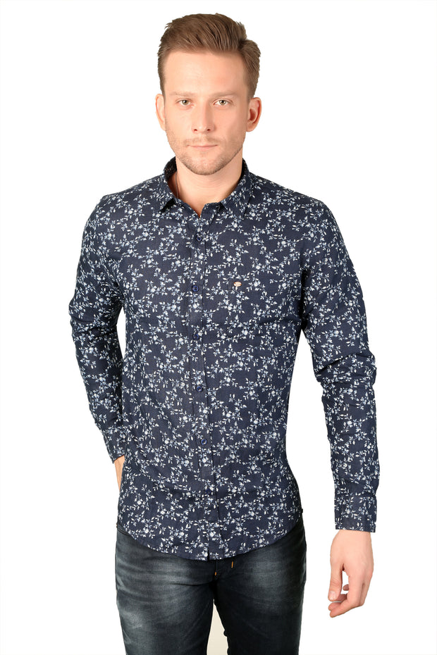 Styrrior 2185 - Slim Fit Pure Linen Micro Flower Printed Blue Shirt