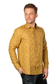 Styrrior 2186 - Slim Fit Pure Linen Micro Flower Printed Khaki Brown Shirt