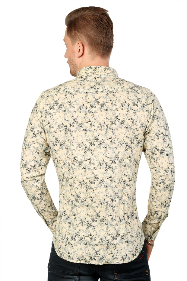 Styrrior 2187 - Slim Fit Linen Cotton Beige Smart Floral Printed Shirt