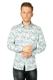 Styrrior 2188 - Slim Fit Linen Cotton Ice Blue Smart Floral Printed Shirt