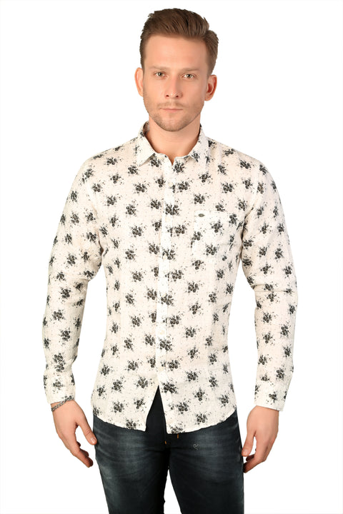 Styrrior 2189 - Slim Fit Pure Linen Flower Printed White Shirt