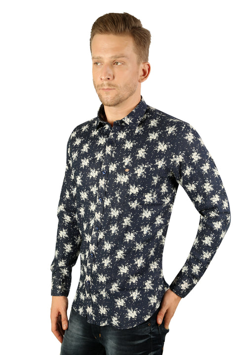 Styrrior 2190 - Slim Fit Pure Linen Flower Printed Blue Shirt