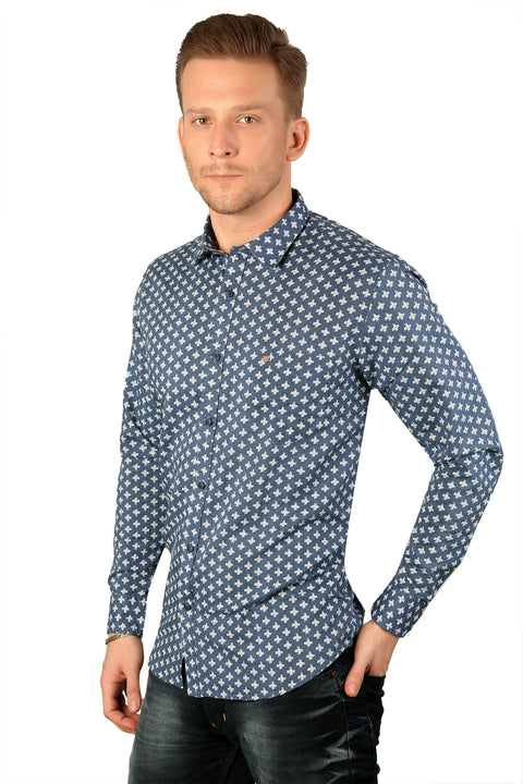Styrrior 2191 - Slim Fit Linen Cotton Printed Blue Shirt