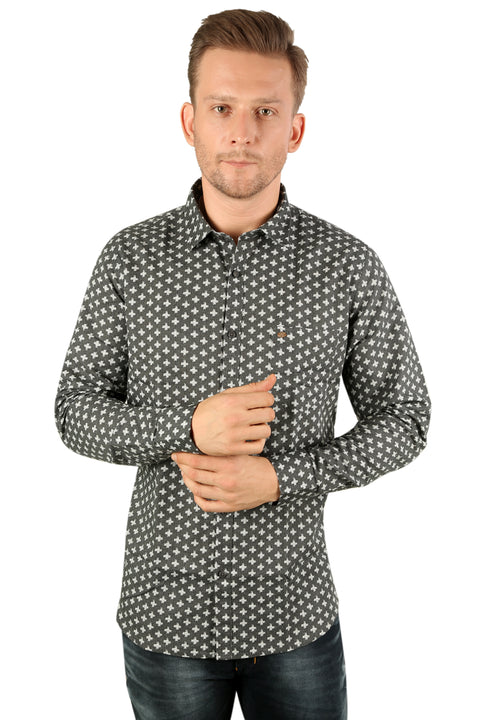 Styrrior 2192 - Slim Fit Linen Cotton Printed Grey Shirt