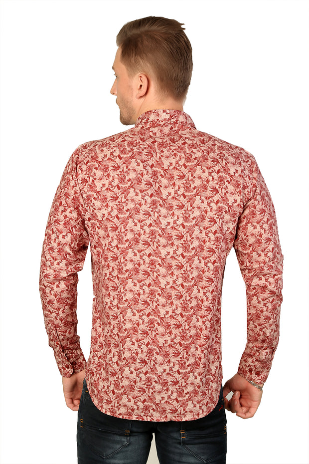 Styrrior 2193 - Slim Fit Linen Cotton Printed Red Shirt
