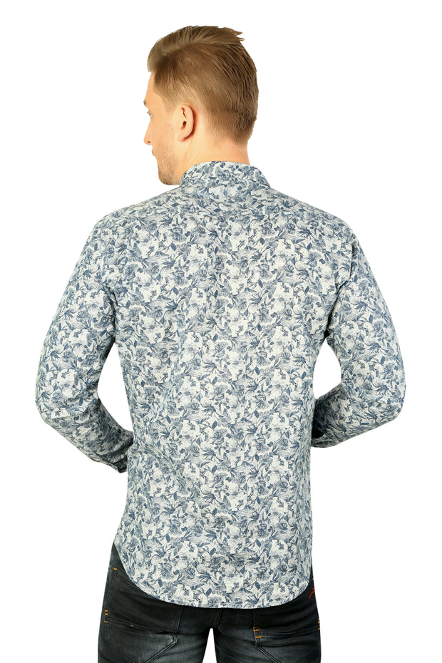Styrrior 2194 - Slim Fit Linen Cotton Printed Blue Shirt