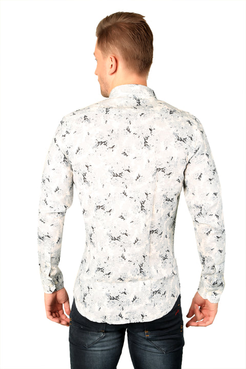 Styrrior 2195 - Slim Fit Pure Linen Abstract Printed White Grey Shirt