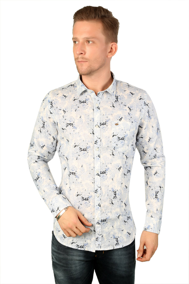 Styrrior 2196 - Slim Fit Pure Linen Abstract Printed White Ice Blue Shirt