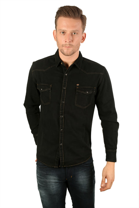 Styrrior 2197 - Slim Fit Black Heavy Denim Jacket Shirt