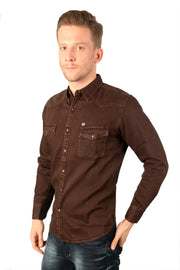 Styrrior 2198 - Slim Fit Brown Heavy Denim Jacket Shirt