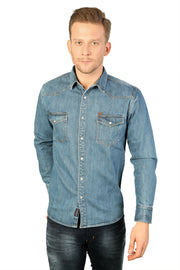 Styrrior 2199 - Slim Fit Vintage Blue Heavy Denim Jacket Shirt