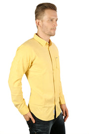 Styrrior 2200 - Slim Fit Yellow Plain Stretchable Cotton Shirt