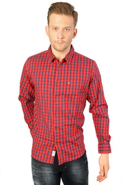 Styrrior 2201 - Slim Fit Red Blue Checks Stretchable Cotton Shirt