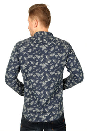 Styrrior 2202 - Slim Fit Linen Denim Blue Flower Printed Shirt
