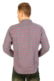Styrrior 2203 - Slim Fit Indigo Checks Blue Red Shirt