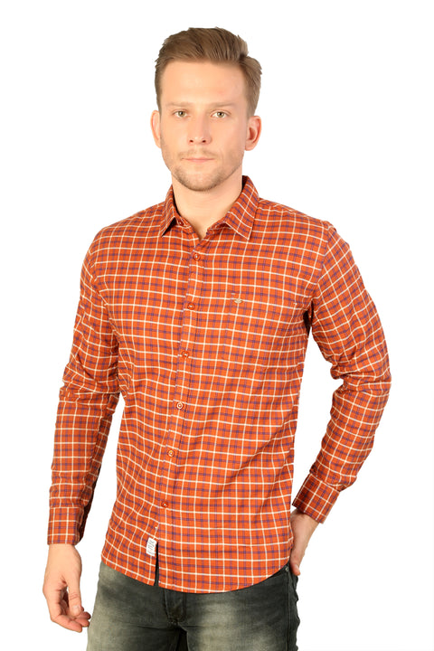 Styrrior 2204 -Slim Fit Twill Checks Orange Stretchable Shirt