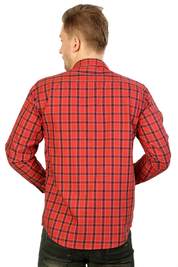 Styrrior 2205 - Regular Fit Linen Cotton Red Blue Block Checks Shirt