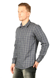 Styrrior 2206 - Regular Fit Linen Cotton Grey Blue Block Checks Shirt