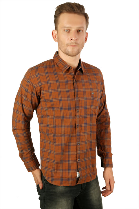 Styrrior 2207 - Slim Fit Checks Dark Orange Stretchable Shirt