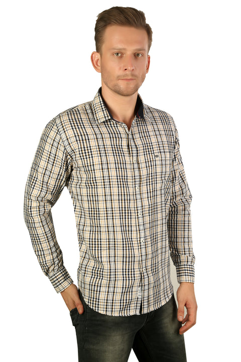 Styrrior 2208 - Regular Slim Fit Cotton White Cream Checks Shirt