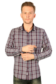 Styrrior 2209 - Regular Slim Fit Cotton Blue White Checks Shirt