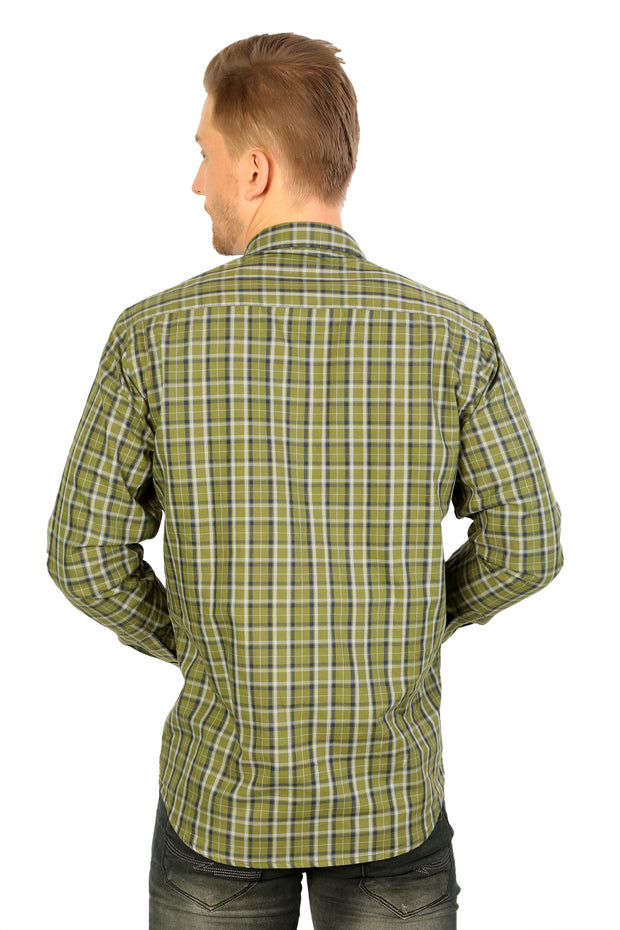 Styrrior 2210 - Slim Fit Green Cotton Twill Checks Shirt