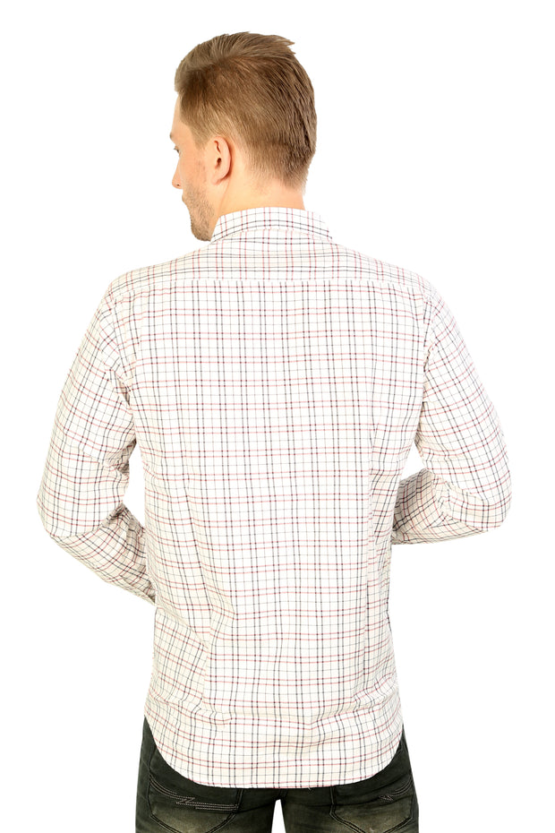 Styrrior 2211 - Slim Fit Twill Checks White Stretchable Shirt