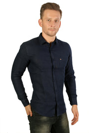 Styrrior 2212 - Slim Fit Pure Linen Plain Dark Blue Shirt