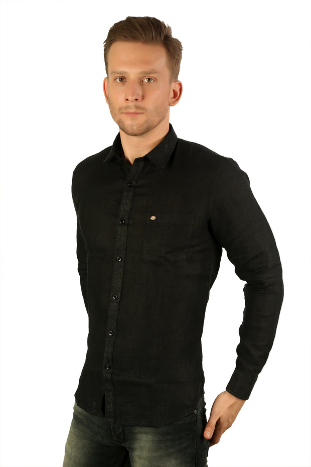 Styrrior 2213 - Slim Fit Pure Linen Plain Black Shirt