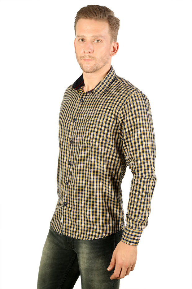 Styrrior 2214 - Regular Slim Fit Cotton Blue Yellow Checks Shirt