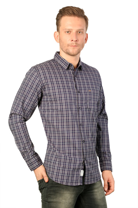 Styrrior 2215 - Slim Fit Twill Checks Blue Stretchable Shirt