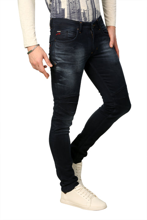 Styrrior 2227 - Super Slim Fit Knitted Dark Blue Biker Denim