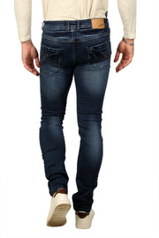 Styrrior 2231 - Skinny Fit Low Rise Mid Blue Knitted Denim