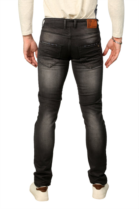 Styrrior 2233 - Slim Fit Dark Carbon Grey Washed Nail Torn Denim