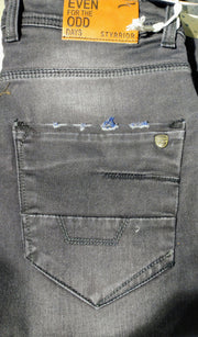 Styrrior 2233 - Slim Fit Dark Carbon Grey Washed Nail Torn  Denim Back Pocket
