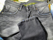 Styrrior 2233 - Slim Fit Dark Carbon Grey Washed Nail Torn  Denim Front Pocket and Bottom