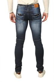 Styrrior 2235 - Slim Fit Knitted Dark Vintage Blue Biker Denim