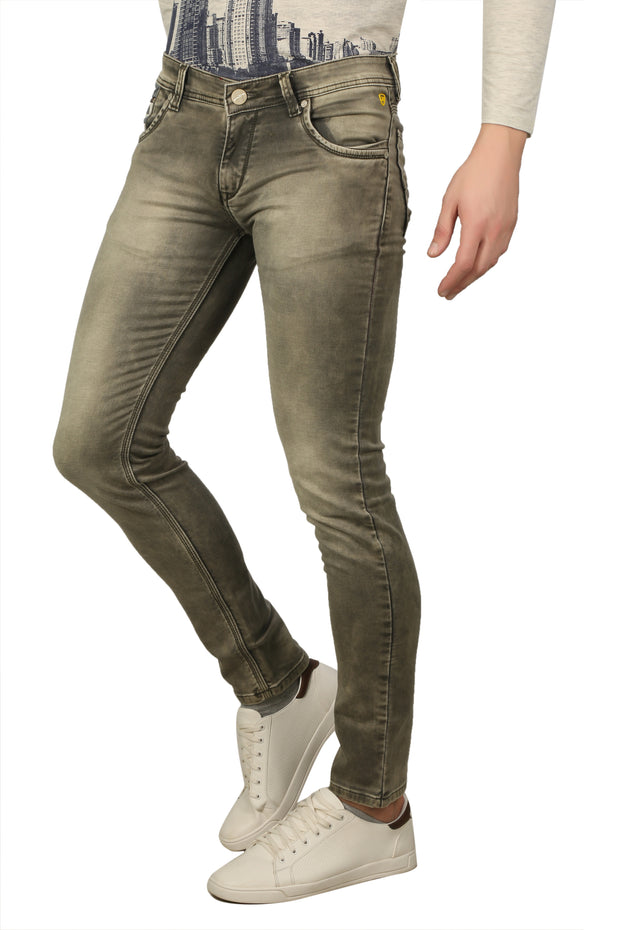 Styrrior 2236 - Skinny Fit Low Rise Olive Green Washed Knitted Jeans