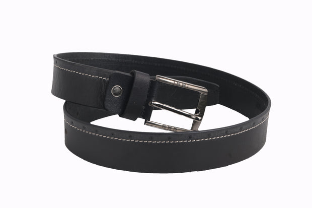 2240 - Black Grey Leather Belt