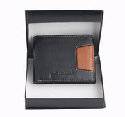 2242 - Black & Tan Leather Two Fold Wallet