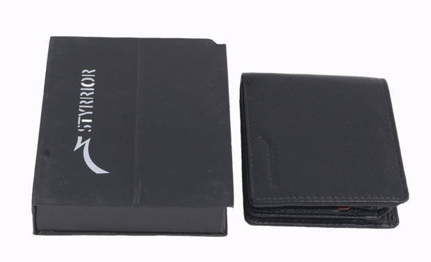 Styrrior 2245 - Black Leather Textured Two Fold Wallet