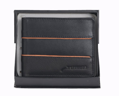Styrrior 2248 - Black Leather Two Fold Stripe Wallet